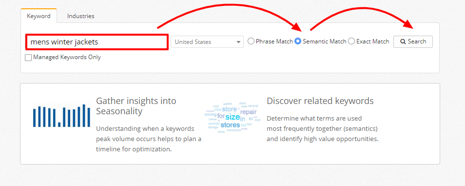 Creating a new search in Topic Explorer, this time using semantic match.