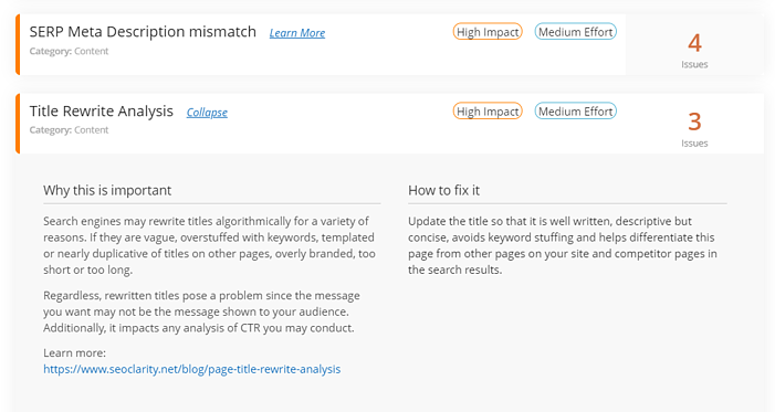 Actionable Insights Page Title Rewrite