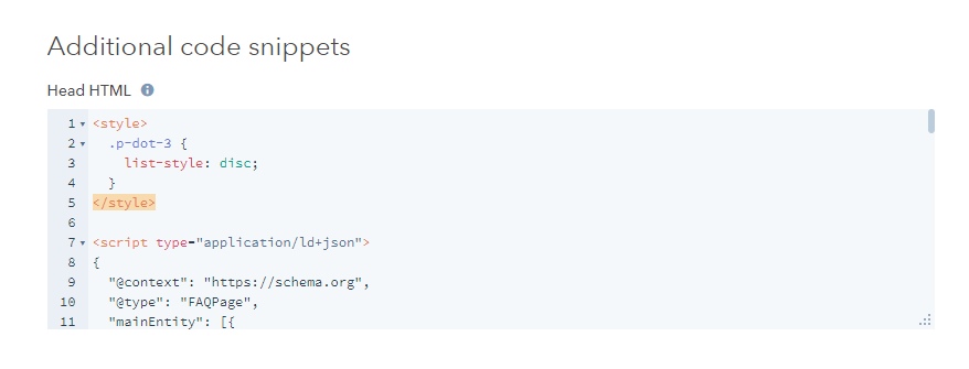 Additional code snippets section within the HubSpot CMS