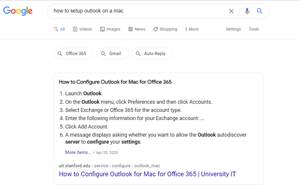 Answer Box Example on a SERP