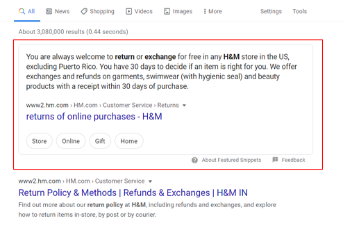 Answer Box Result for H&M return policy query