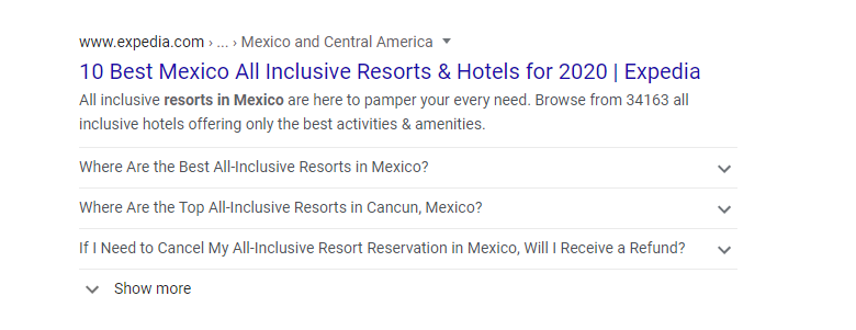 FAQ Schema Example on the Google SERP. Commonly asked questions appear below the SERP listing, which allows the user to click and find information without leaving the results page.