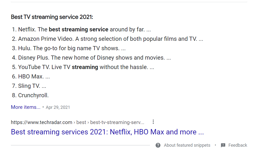 Featured Snippet List Example