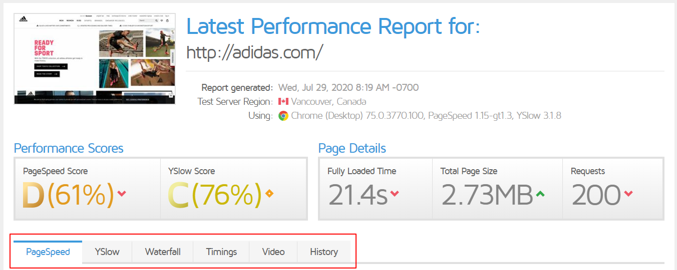 Performance scored and page details after a page test has been run.