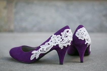 High heel purple wedding shoes.