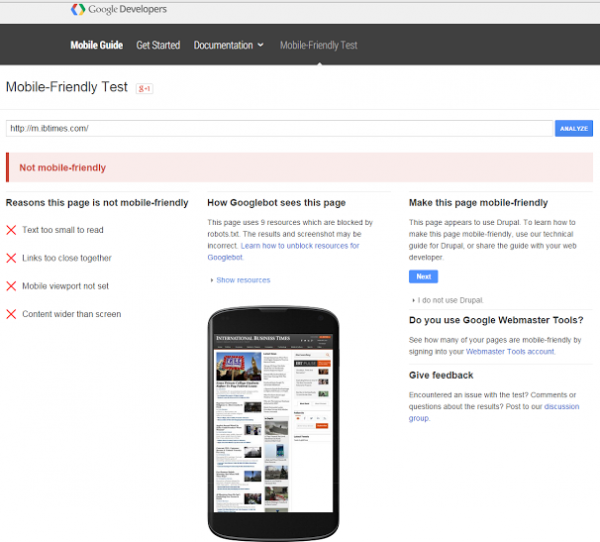 google mobile friendly tool