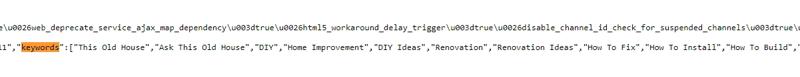 Keywords from HTML YouTube