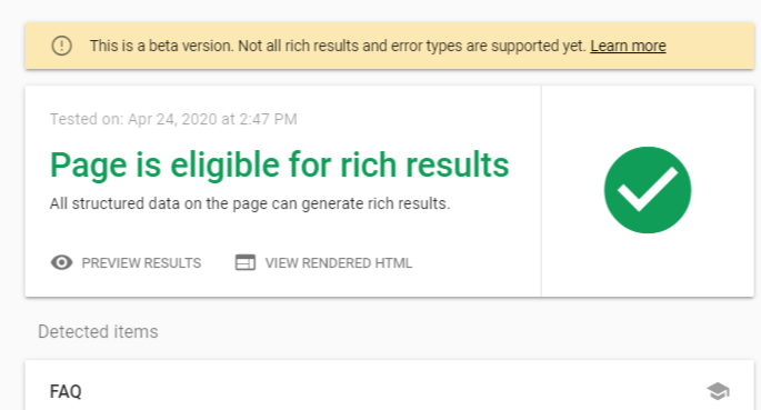 Page is eligible for results - Google rich results testing tool