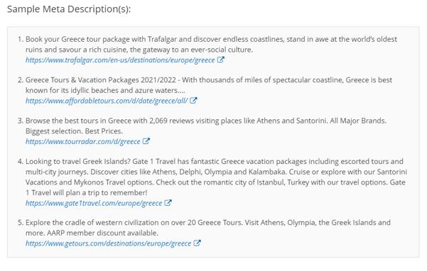 Sample meta descriptions for Greece Tours