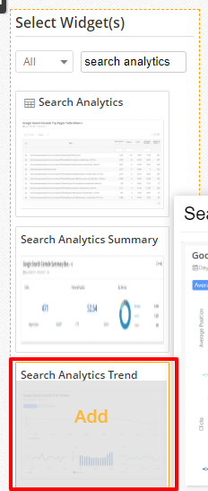 Search Analytics Trend Widget