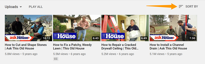 Sort by on YouTube