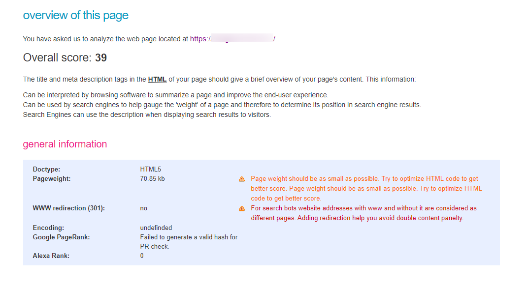 Web Page Analyzer Tool