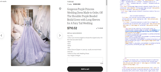 Showing an image of a purple wedding dress side by side with its alt text code.