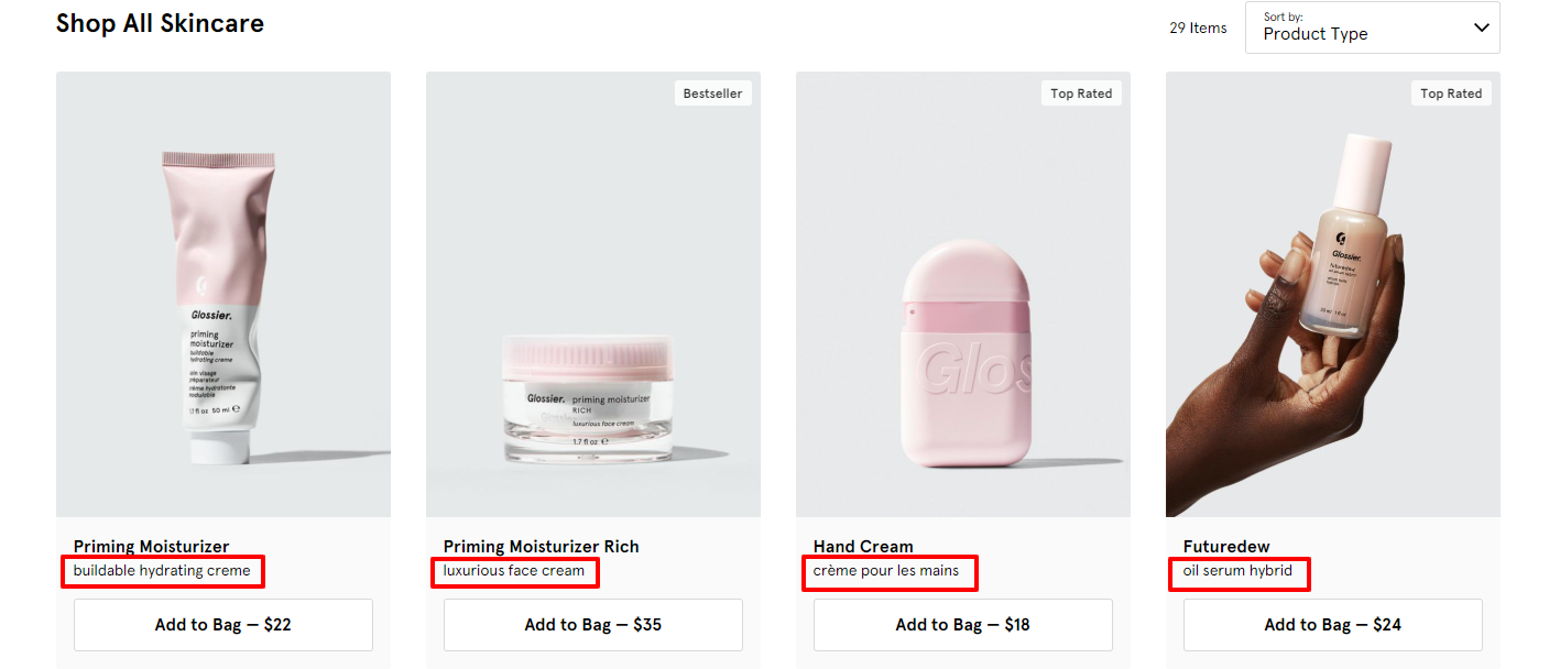 Short product descriptions can entice the user's click from the category or subcategory page to the actual product page.